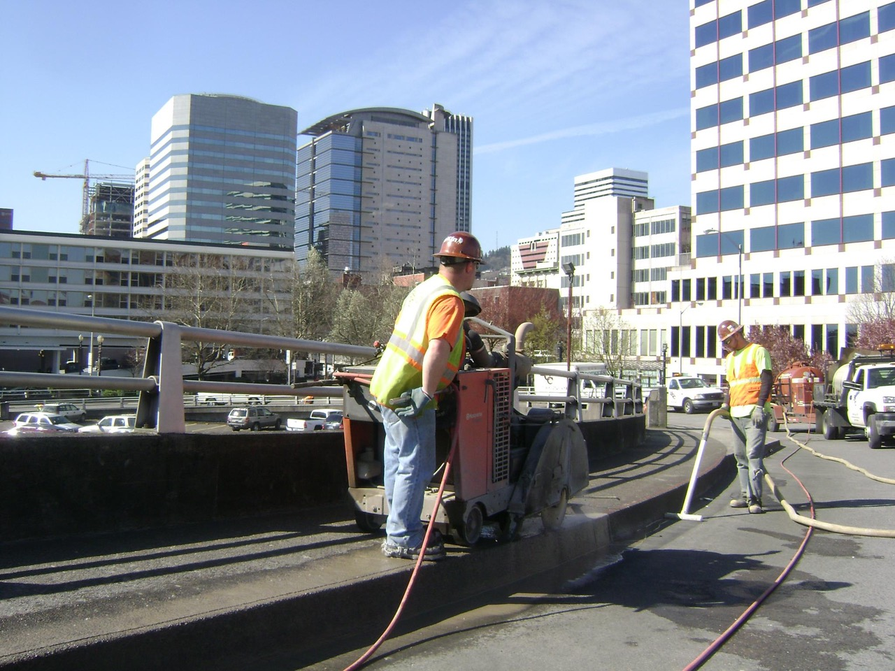 Sawcutter with Portland skyline